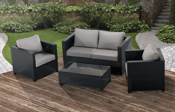 Antonio 4 Piece Patio Lounge Set Black